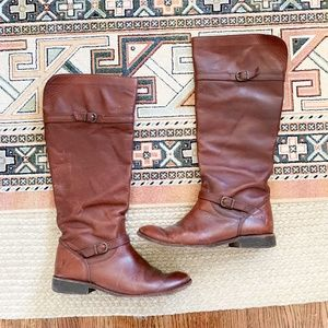 frye   tall double buckle boots